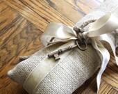 Burlap Ring Bearer Pillow with Velvet ribbon and Vintage Key