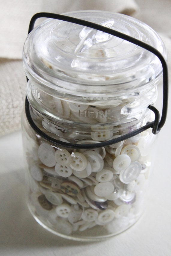 Vintage Jar Filled with a Huge Collection of Vintage White Buttons