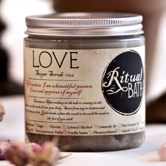 Love Sugar Scrub 16oz raw sugar ground vanilla beans and grape seed oil