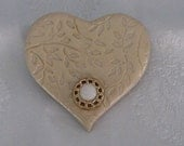 Gold Heart Brooch/Pin with Vintage Button