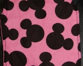 super cute pink flannel with black Mickey mouse print small dog cape