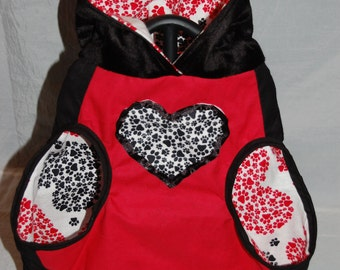 Red black paw print hearts reversible flannel medium dog hoodie, Valentines day love