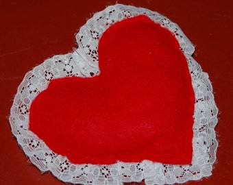 I love my dog, red heart white lace stuffed squeaker toy