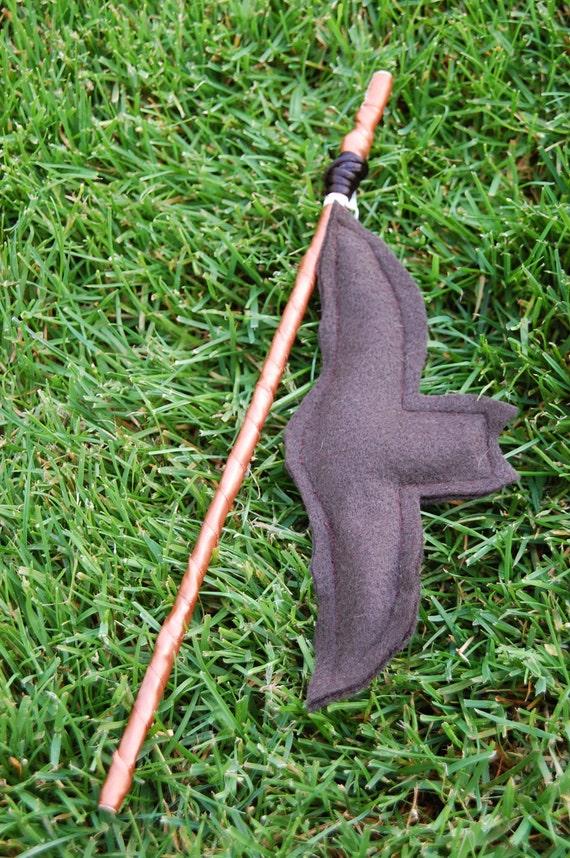 Steampunk chocolate brown Flying Batnip catnip toy, bat on a stick fishing pole interactive cat toy