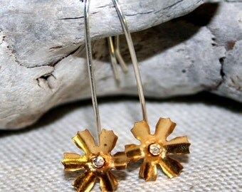Brass Flower and Sterling Silver Earrings Starburst earrings