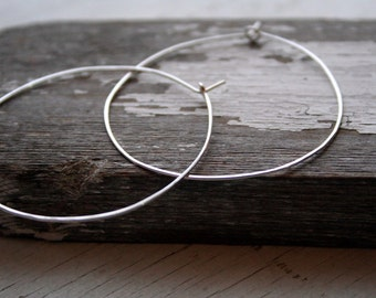 Large Sterling Silver Hoop Earrings Artisan Made Rustic Round Hoops