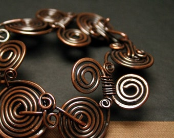 Rustic Copper Coiled Bracelet