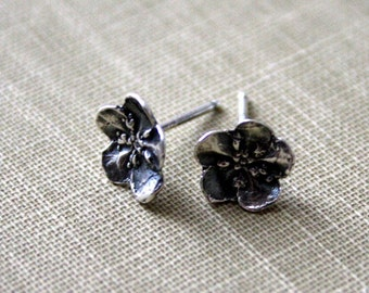Sterling Silver Forget Me Not Flower Post Earrings -Black Patina or Frosted Sterling