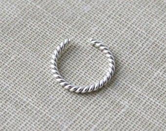 Sterling Silver Twist Ear Cuff Faux Piercing Nose Ring