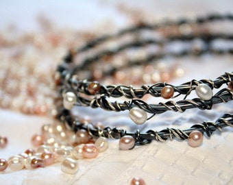 Oxidized Sterling Silver Bangles with Pearls - Bramble Bangles