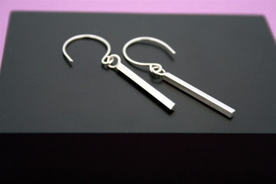 Square Bar Sterling Silver Drop Earrings
