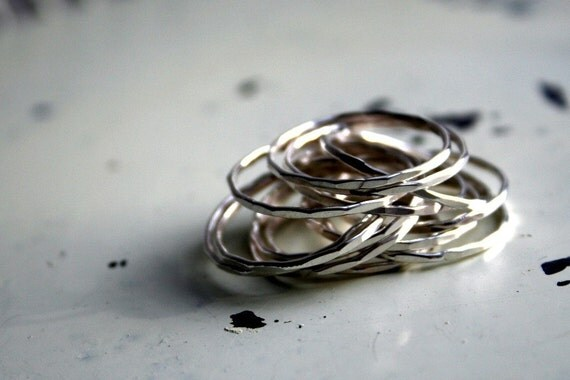 Thin Hammered Sterling Silver Stacking Ring- ONE