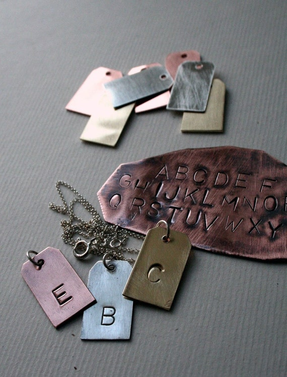 Initial Tag - Brass, Copper  Sterling- Single Hand Stamped Pendant