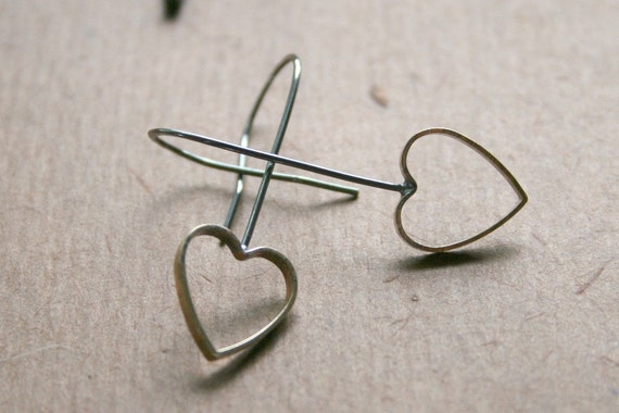 Heart Brass & Sterling Hoop Earrings -Oxidized