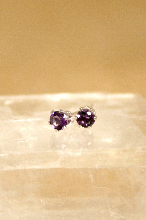 3mm Amethyst & Sterling Silver Stud Posts
