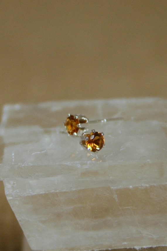 3mm Citrine Sterling Silver Stud Posts