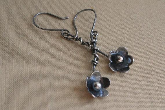 Sterling Silver Flower Branch Earrings