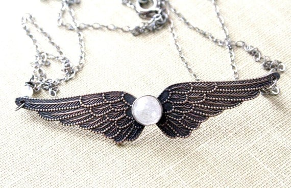 Brass, Sterling Silver, Moonstone Wing Necklace