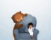 "Girls Room, Bear Print, Winter Art - ""Sipping Chocolate"""
