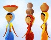 """India Art Print, Indian Women, Indian Wall Hanging, Indian Sari - """"Country Girls"""""""