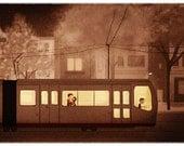 "Muni Art, San Francisco Print, Wall Decor, Vintage Art - ""Night Train"""
