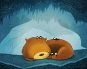 "Bear Art, Penguin Painting, Cute Animals, Kids Wall Art - ""We like sleep"""