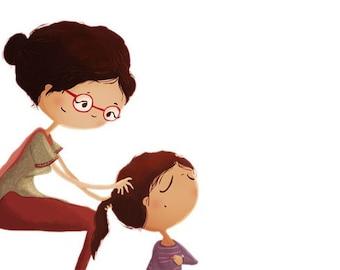 """Mother Daughter Art, Gifts for Mom, Family Illustration, Children's Art Print - """"Braids"""""""