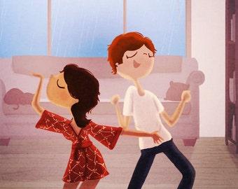 "Couples Gift, Couple Art Print, Love Art, Cute Couple, Art Print - ""Dance Party"""