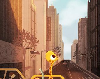 "New York City Art Print, New York Taxi Art, NYC Art Print, Cute Animal Art, City Art Print - ""Yellow Cab"""