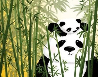 "Baby Panda, Panda Art, Nursery Decor, Panda Baby Shower, Panda Painting, Kids Art,  - ""Gentle Giant"""
