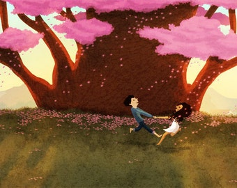 "Cherry Blossom Art, Art Print, Couples Gift, Love Art, Summer Painting, Wall Art - ""Spinning"""