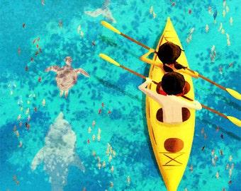 """Kayak Painting, Ocean Painting, Ocean Art, Dolphin Painting - """"Secrets of the Sea"""""""