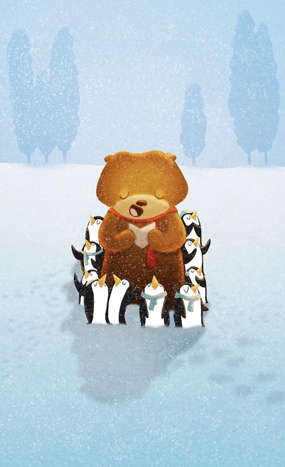 "Bear and Penguins Choir - ""Pa Ra Pa Pum Pum"" - Art Print 13x19"