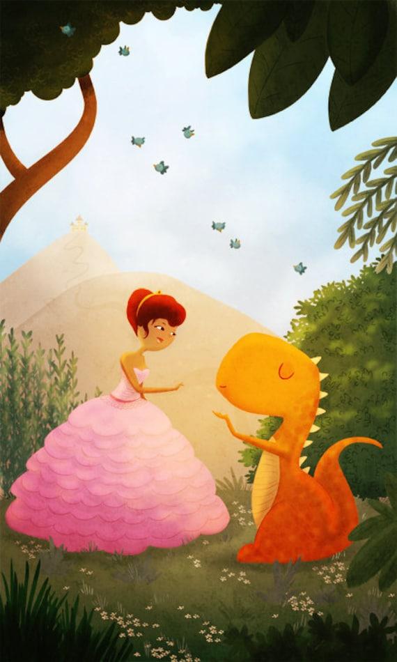 "Princess Art, Dino Princess, Girl Room Art, Cute Couple, Kids Wall Art, Dinosaur Art Print- ""The Perfect Pair"""