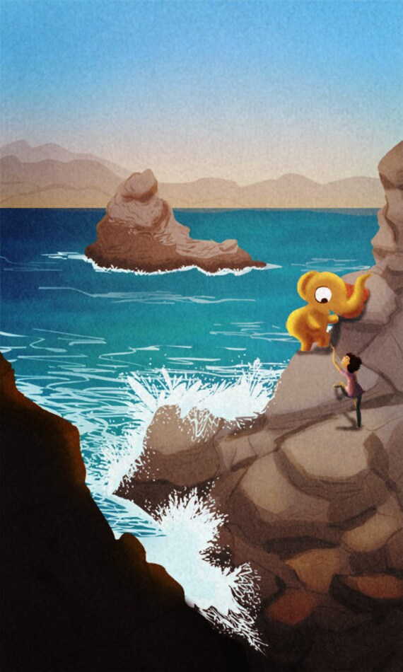 "Ocean Art, Elephant Painting, California, Ocean Print, Coastal Art, Wave, Surf - ""I believe in you"" - Art Print 13x19"