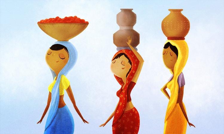 India Art Print Indian Women Indian Wall Hanging Indian