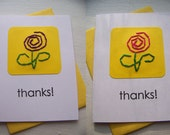 Set of 2 Thank you Cards - simple flowers