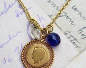 Mother's day silhouette Vintage 12K GF boy profile silhouette charm necklace