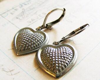 Small Heart Earrings - textured small silver dangle earrings