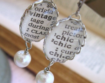 Inspirational Word earrings, Custom Vintage Dictionary Word Earrings, pearl dangle earrings, bridesmaid earrings, Custom Handmade