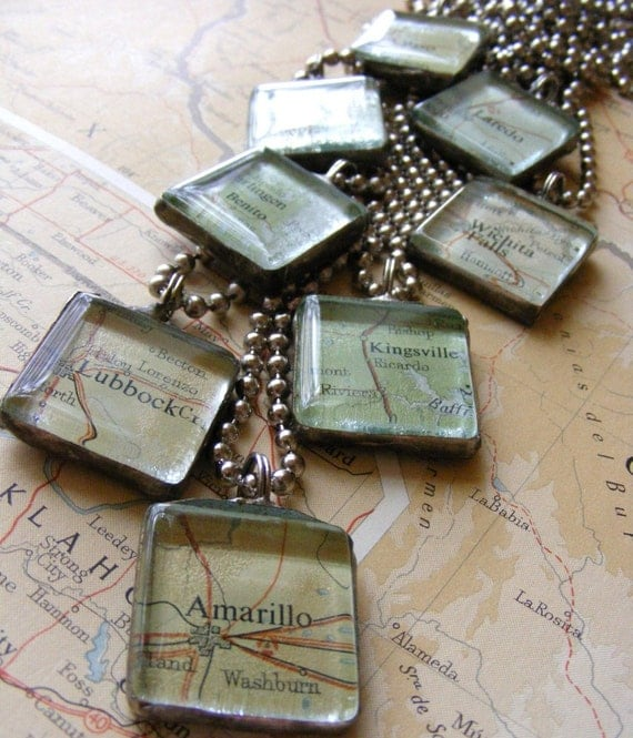 Custom Map Necklace - City of your choice soldered pendant