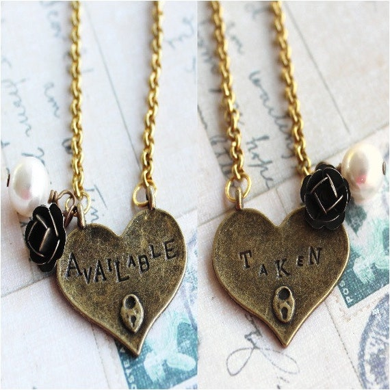 Heart Charm Necklace - Reversible Taken / Available - Stamped Heart Pendant
