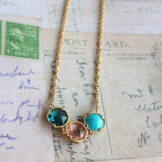Pink and Aqua acrylic stone connector necklace