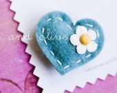 All dressed up....Daisy Mae in Turquoise....felt puffy heart pendant