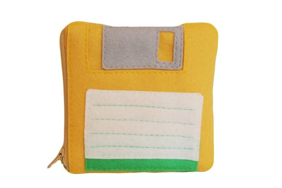Floppy Disk Pouch - Yellow