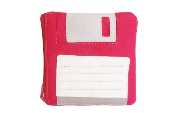 Floppy Disk Pouch - Fuschia Computer Diskette Coin Purse