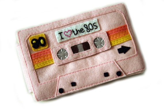 Cassette Tape Iphone/Ipod Case - Felt Mix Tape Iphone Cozy - Deluxe I Love the 80s