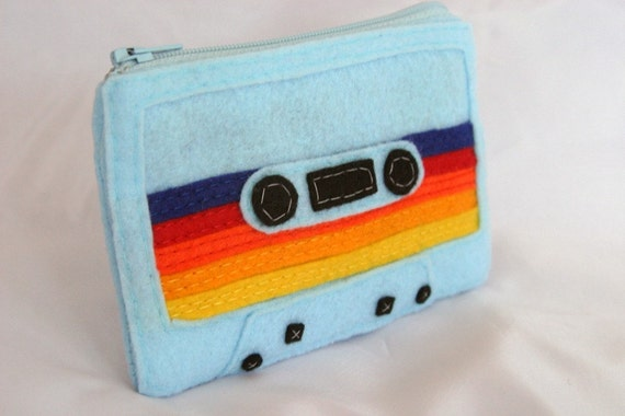 Mix Tape Pouch - Baby Blue with Multicolored Stripes