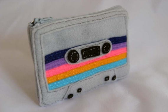 Mix Tape Pouch - Grey with Multi-Colored Stripes