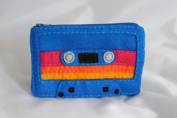 Large Mix Tape Pouch - Royal Blue with Pink, Orange, and Yellow Stripes